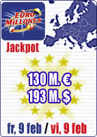 SPECIAL SUPERJACKPOT of 130 M euros in Euromillions and February Special