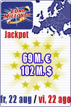 Jackpot of 69 M euros in Euromillions.