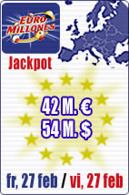42 M euros jackpot in Euromillions