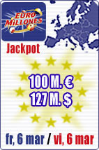 SPECIAL SUPERJACKPOT of 100 M euros in Euromillions