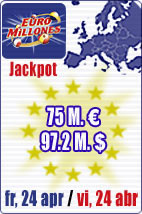 Jackpot of 75 M euros in Euromillions