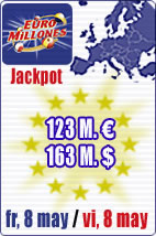 SuperJackpot of 123 M euros in Euromillions