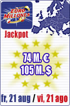 Jackpot of 74 M euros in Euromillions